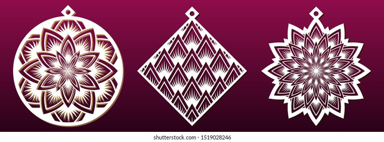 Set of decorative Christmas shapes, templates for laser cutting, paper art or metal cut. Abstract pattern, ball, star and rhumb. Fretwork stencil or die. Vector illustration