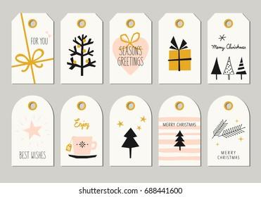 set of decorative christmas tags