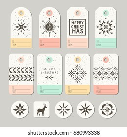 set of decorative christmas tags and stickers