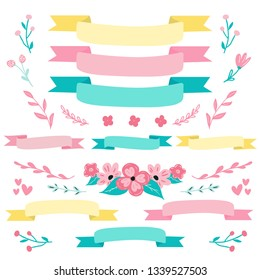 Set of decorative colorful ribbons and flowers and florals for card, flyer,banner design. Pre made flower bouquet and ribbons in bright color palette for Easter and spring designs.