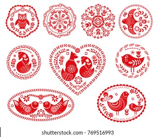 Set of decorative compositional elements for tags, cards, emblems, logos. Folk art