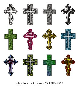 Set of decorative crosses. Openwork ornament of curls, rings, leaf patterns, plant elements. Religious theme. Easter, Christmas symbol. Multi-colored objects with a black outline on a white background
