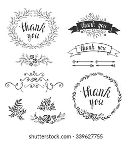 Set of decorative design elements, embellishments, frames, borders, floral elements, botanical frames. Vector