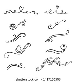Set of decorative design elements. Hand-drawn curls. Vector scroll embellishment on white.