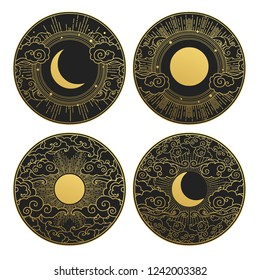 Set of decorative design elements. Moon, sun, clouds. Vector templates.