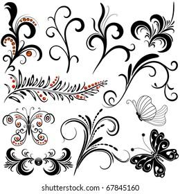 Set decorative design isolated elements on white (vector)