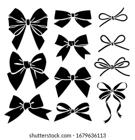 Set of decorative different bow silhouette. Vector illustration