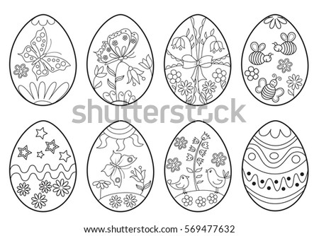Set Decorative Easter Eggs Coloring Page Stock Vector (Royalty Free ...