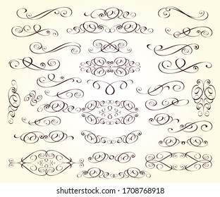 Set of decorative elements for design isolated, editable.