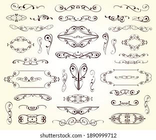 Set of decorative elements for design isolated, editable.Vignettes, ornate,frames, dividers.