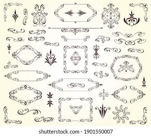 Set of decorative elements for design isolated, editable.Vignettes, ornate,frames, corners,dividers.