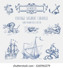 Set of decorative elements for the design of an old geographical map. Ancient caravel, sea monsters, anchor, framework for inscriptions, cartouche.