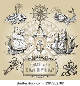 Set of decorative elements for the design of an old geographical map. Ancient caravel, sea monsters, anchor, ship's wheel, compass-meter, wind rose, framework for inscriptions, cartouche.