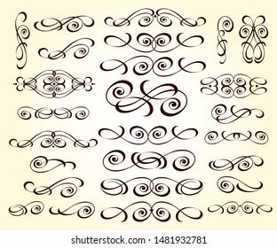 Set of decorative elements. Dividers.Vector illustration.