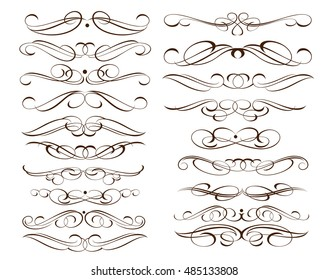 Set of decorative elements. Dividers.Vector illustration.For calligraphy graphic design, postcard, menu, wedding invitation, romantic style.Brown  white.