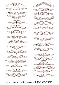 Set of decorative elements. Dividers.Vector illustration.Well built for easy editing.For calligraphy graphic design, postcard, menu, wedding invitation, romantic style.