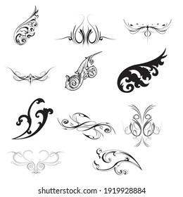 Set of decorative elements. Floral and florid vignettes. Vector EPS 10