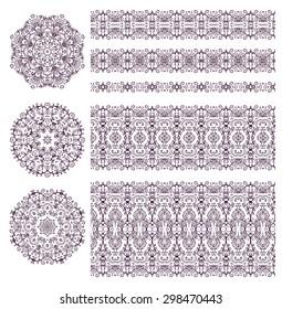 Set of decorative elements - rosettes, ribbons