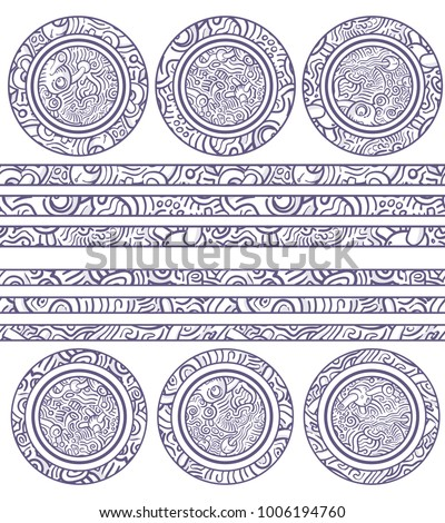 Set of Decorative Elements: seamless lines and ornamental circles. Isolated Vector Items