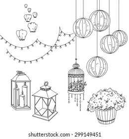 Set of decorative elements in sketch.