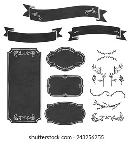 Set of decorative elements in the style of chalk board. Frame, invitations, ribbons, decorations and floral elements. Place for your text. Vector.