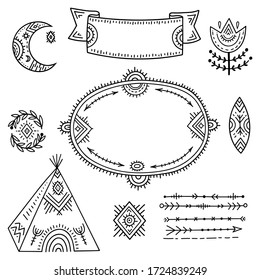 The set of decorative elements is stylized as children's drawing in the Scandinavian style. Funny cartoon kids coloring book. Folk art. Flower, moon, arrows, frame for an inscription or explanation.