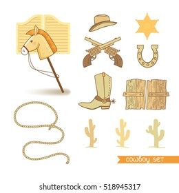 Set of decorative elements in western style for boy's birthday party