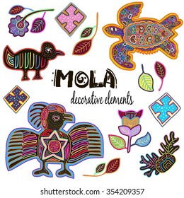 Set of Decorative Ethnic Elements. Mola Style Design. Antique. Colorful Vector Collection.