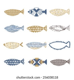 Set of decorative fishes in vector. Vintage colors set for invitations, save the date cards and other design.