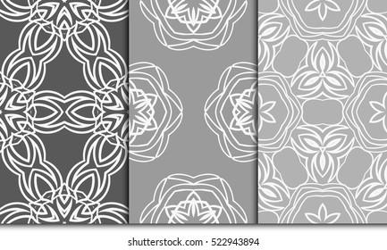 set of decorative floral ornament. vector illustration. for interior design, wallpaper, paper fill. Grey color