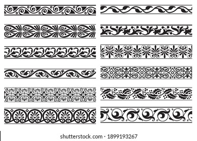Set of decorative floral seamless ornamental border - Vector modular