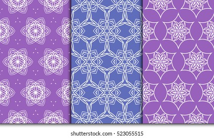 set of decorative floral seamless pattern background. Luxury texture for wallpaper, invitation. Vector illustration. purple color.