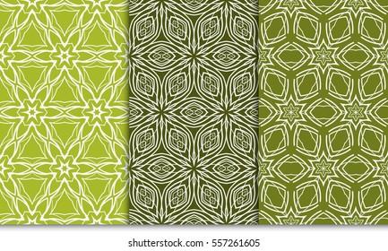 set of decorative floral seamless pattern. lace ornament. Vector illustration. green color. for design invitation, background, wallpaper