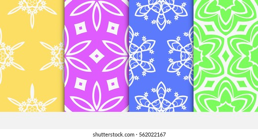 set of decorative floral seamless pattern. Luxury texture for wallpaper, invitation, textile, fabric, decor. Vector illustration. Bright color background.