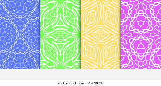 set of decorative floral seamless pattern. lace ornament. Vector illustration. for design invitation, background, wallpaper