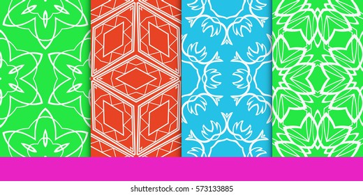 set of decorative floral seamless pattern. vector illustration. for invitation, greeting card, wallpaper, interior design