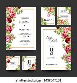 set of decorative floral wedding invitation design template - vector