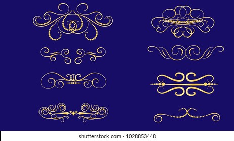 Set of decorative florish gold dividers, borders on the dack background