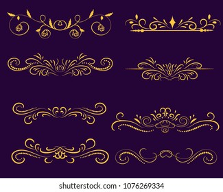 Set of decorative florish gold dividers, borders on the dark background