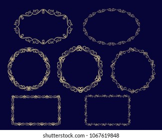 Set of decorative florish gold frames on the dark background.