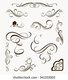 Set of decorative flourish elements. Calligraphic ornaments and borders for your design. Floral silhouettes. Calligraphy design elements for page decor