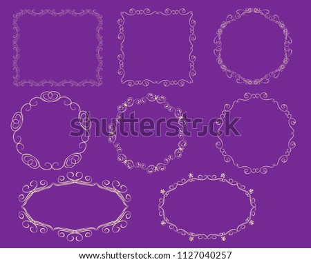 Set Decorative Flourish Gold Frames On Stock Vector Royalty Free