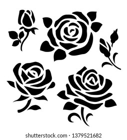 Set of decorative flower silhouette with bud and leaves for your design. Vector rose