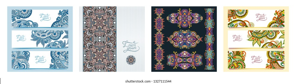 set of decorative flower template banner, card in indian kalamkari style, web design with place for your text, vector illustration