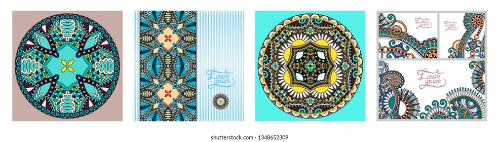 set of decorative flower template banner in indian kalamkari style, card, web design with place for your text, vector illustration