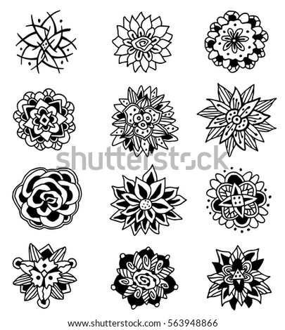 Set decorative flowers black white handdrawn stock vector royalty set of decorative flowers black and white hand drawn mandala ink graphics vector mightylinksfo