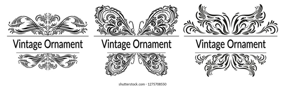 Set Decorative Frames, Butterflies Symbols with Abstract Calligraphic Floral Pattern, Black Contours Isolated on White Background. Vector
