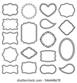 Set of decorative frames with flowers, swirls and hearts. Isolated on white background