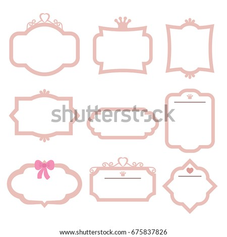 Set Decorative Frames On White Background Stock Vector (Royalty Free ...