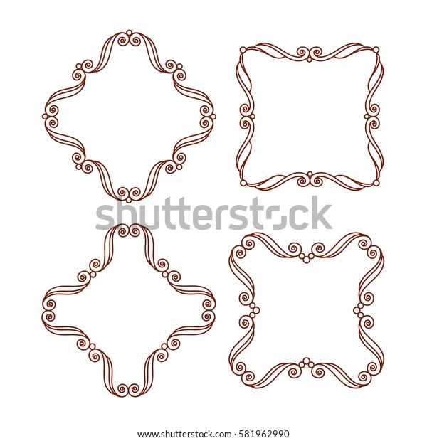 Set decorative frames .Vintage vector.Well built for easy editing.Brown on white.Vector illustration.